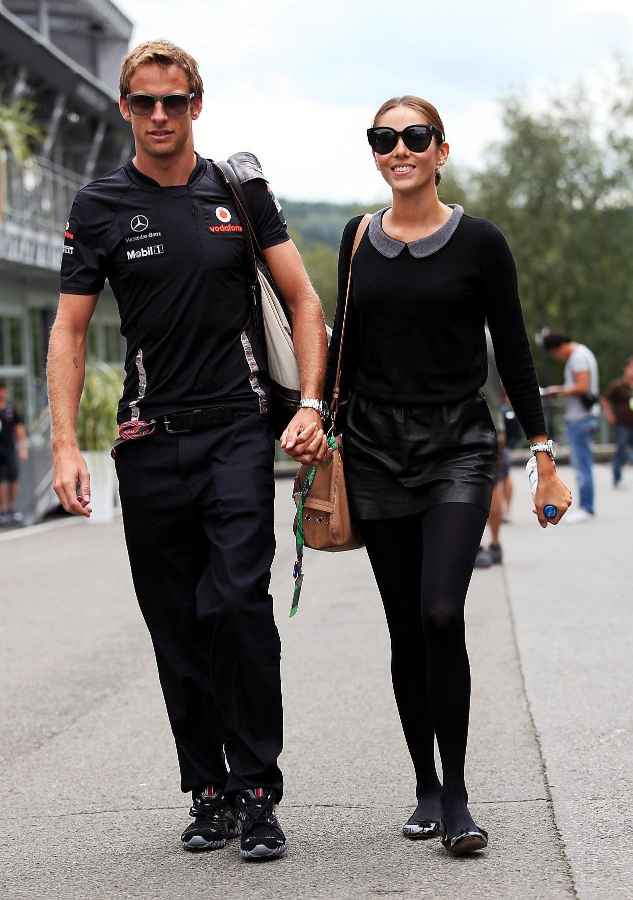 Jenson Button and Jessica Michibata